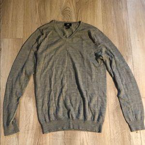 Grey Merino Wool V-Neck Sweater (Men's S)